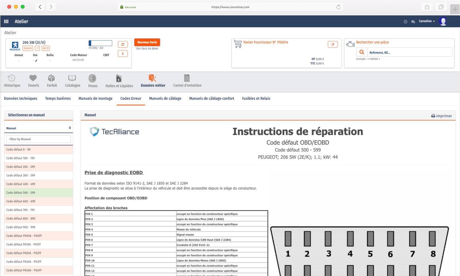 Carooline - Instructions de réparation codes erreurs
